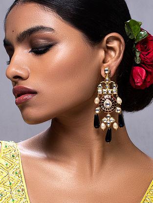 Red Black Gold Tone Kundan Earrings