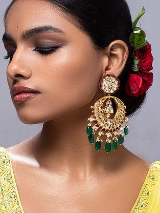 Red Green Gold Tone Kundan Earrings