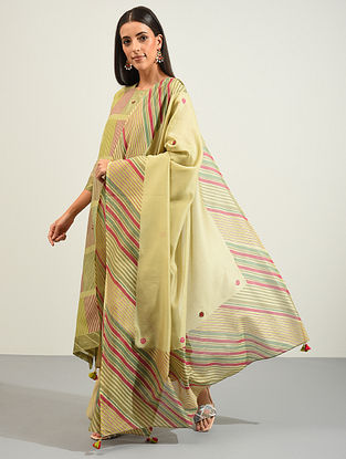 Multicolored Hand Block Printed and Hand Embroidered Chanderi Dupatta