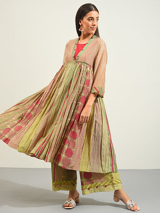 Multicolored Hand Block Printed and Hand Embroidered Chanderi Kurta with Slip