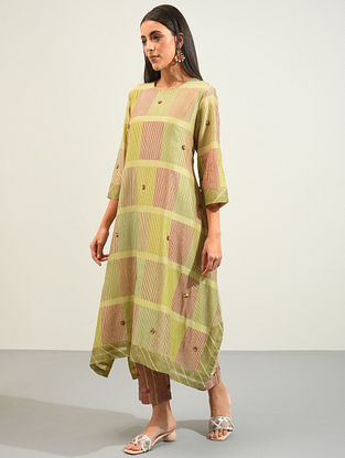 Multicolored Hand Block Printed and Hand Embroidered Chanderi Kurta with Lining