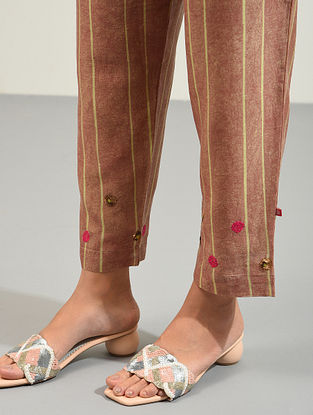 Multicolored Hand Block Printed and Hand Embroidered Chanderi Pants