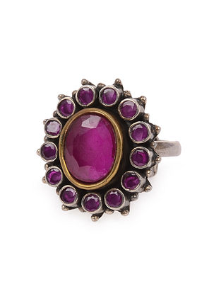 Purple Tribal Silver Adjustable Ring