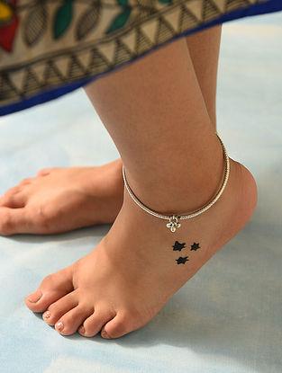 Tribal Silver Leg Kada (Set of two)