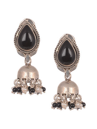 Black Tribal Silver Earrings with Pearls