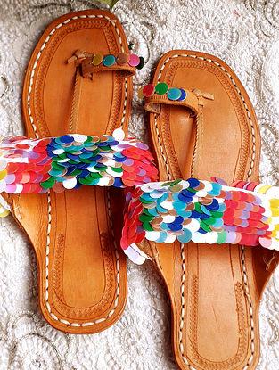 Multicolored Handcrafted Sequinned Silk Leather Kolhapuri Flats