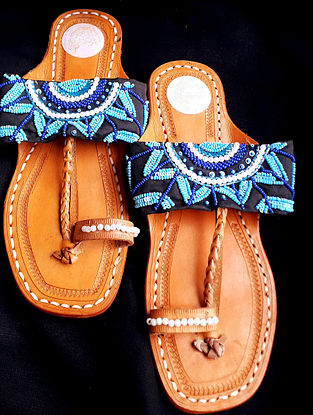 Blue Handcrafted Beaded Cotton Leather Kolhapuri Flats