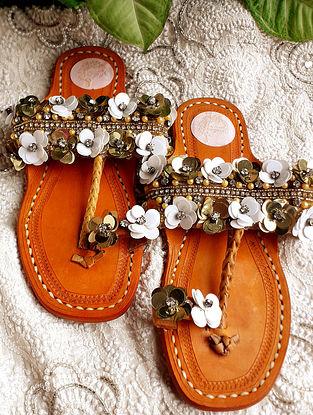 White Gold Handcrafted Embellished Net Leather Kolhapuri Flats