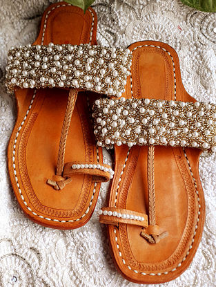 Gold Handcrafted Beaded Cotton Leather Kolhapuri Flats
