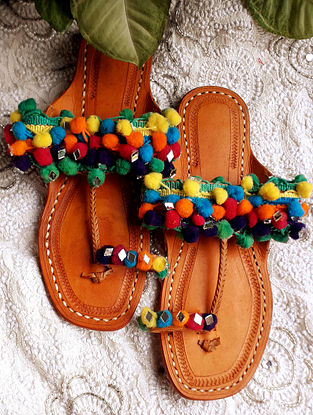 Multicolored Handcrafted Cotton Leather Kolhapuri Flats