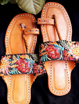 Multicolored Hand Embroidered Cotton Leather Kolhapuri Flats