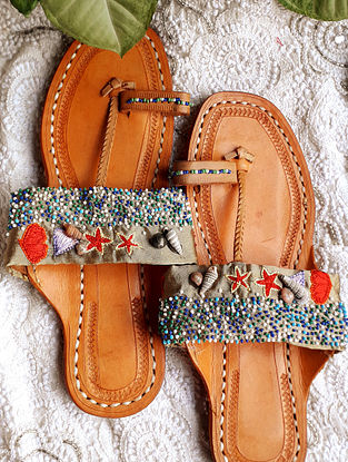 Multicolored Handcrafted Beaded Cotton Leather Kolhapuri Flats