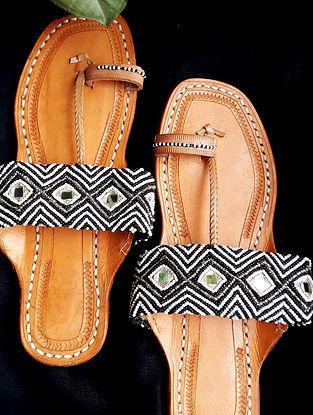Black White Handcrafted Beaded Cotton Leather Kolhapuri Flats