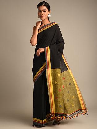 Black Handwoven Bhujodi Kala Cotton Saree