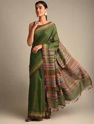 Green Handwoven Bhujodi Kala Cotton Saree