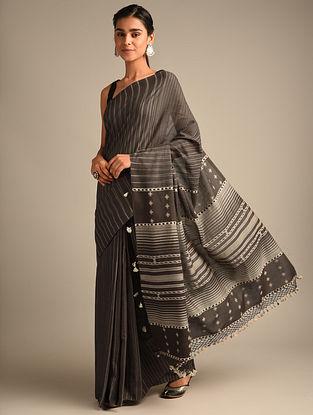 Grey Handwoven Bhujodi Kala Cotton Saree