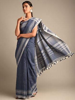 Blue Handwoven Bhujodi Kala Cotton Saree