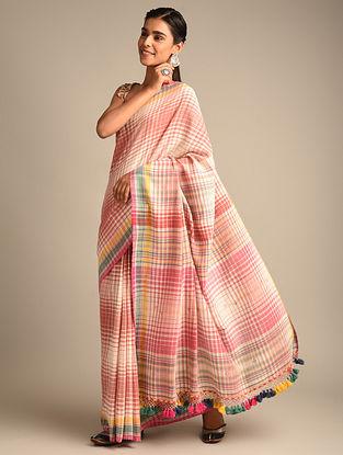Pink Handwoven Bhujodi Kala Cotton Saree