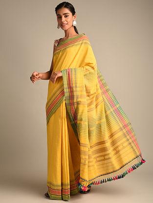 Yellow Handwoven Bhujodi Kala Cotton Saree