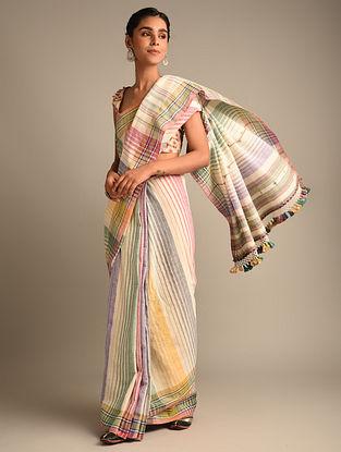 Multicolour Handwoven Bhujodi Kala Cotton Saree