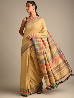 Brown Handwoven Bhujodi Kala Cotton Saree