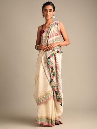 White Handwoven Bhujodi Kala Cotton Saree