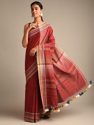 Red Handwoven Bhujodi Kala Cotton Saree