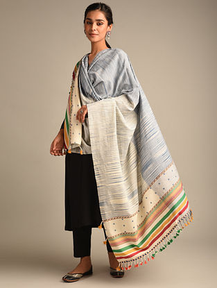 Blue Handwoven Bhujodi Cotton Dupatta