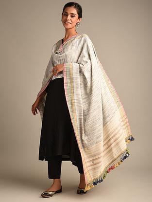 Grey Handwoven Bhujodi Kala Cotton Dupatta