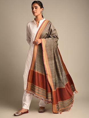 Brown Handwoven Bhujodi Tussar Silk Dupatta
