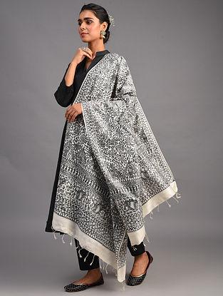 Grey Madhubani Muga Silk Dupatta