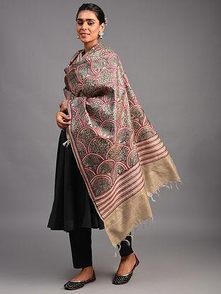 Beige Madhubani Tussar Silk Dupatta