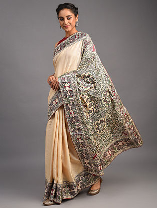 White Madhubani Tussar Silk Saree