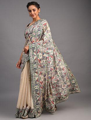 White Madhubani Muga Silk Saree