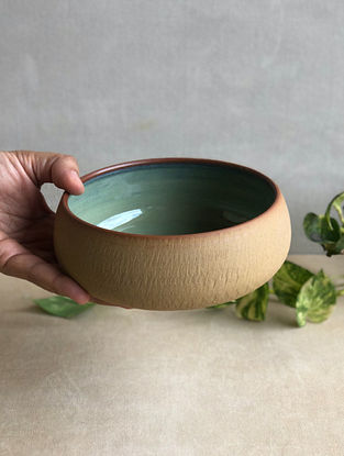Sea Green Handcrafted Stoneware Saagar Salad Bowl (Dia-6in,H-2.4in)