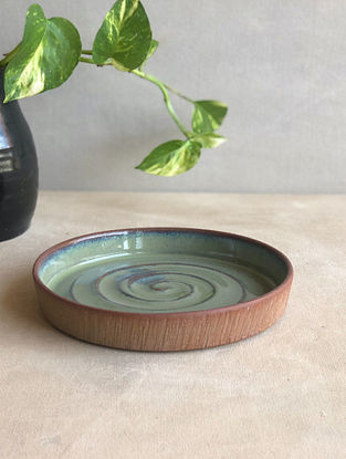 Sea Green Handcrafted Stoneware Saagar Snack Plate (Dia-5.8in,H-1in)