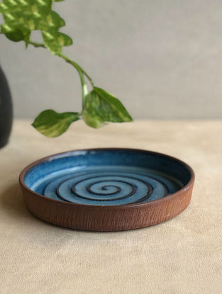 Deep Sea Blue Handcrafted Stoneware Saagar Snack Plate (Dia-5.8in,H-1in)
