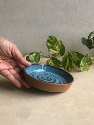 Deep Sea Blue Handcrafted Stoneware Saagar Dessert Plate (Dia-5in,H-0.8in)