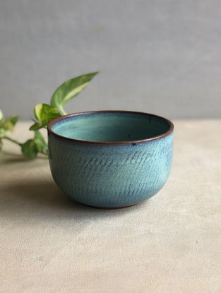 Sea Green Handcrafted Stoneware Saagar Snack Bowl (Dia-4.5in,H-3in)