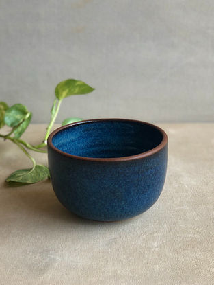 Deep Sea Blue Handcrafted Stoneware Saagar Snack Bowl (Dia-4.5in,H-3in)