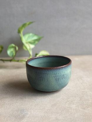 Sea Green Handcrafted Stoneware Saagar Dessert Bowl (Dia-3.5in,H-2.5in)