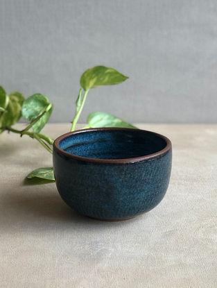 Deep Sea Blue Handcrafted Stoneware Saagar Dessert Bowl (Dia-3.5in,H-2.5in)