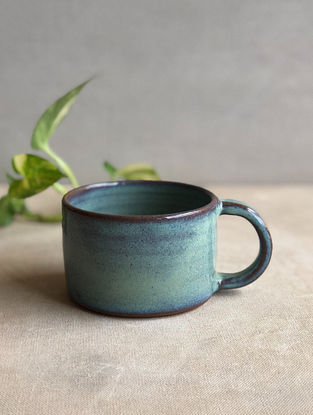 Sea Green Handcrafted Stoneware Saagar Tea Cups(Dia-3.25in,H-2.25in)