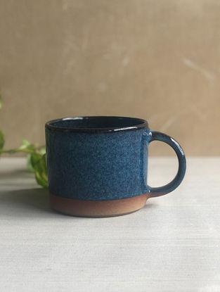 Deep Sea Blue Handcrafted Stoneware Saagar Coffee Mugs(Dia-3.15in,H-2.8in)