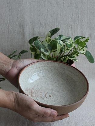 Speckled Cream Handcrafted Stoneware Prthvi Pasta Bowl (Dia-7.5in,H-2.25in)