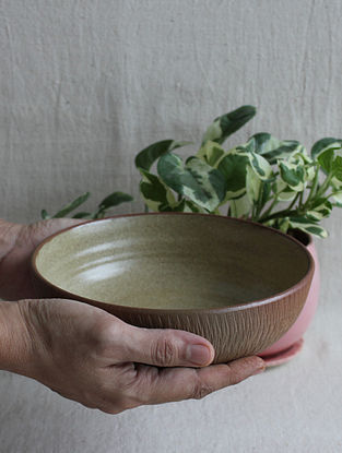Speckled Beige Handcrafted Stoneware Prthvi Pasta Bowl (Dia-7.5in,H-2.25in)