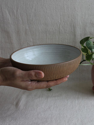 Speckled White Handcrafted Stoneware Prthvi Pasta Bowl (Dia-7.5in,H-2.25in)