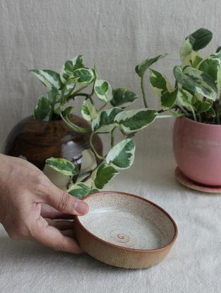 Speckled Cream Handcrafted Stoneware Prthvi Dessert Plates (Dia-5in,H-0.8in)