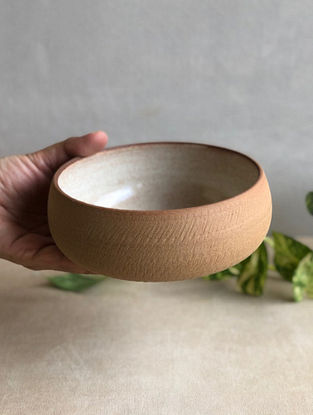 Speckled Cream Handcrafted Stoneware Prthvi Salad Bowl (Dia-6in,H-2.4in)