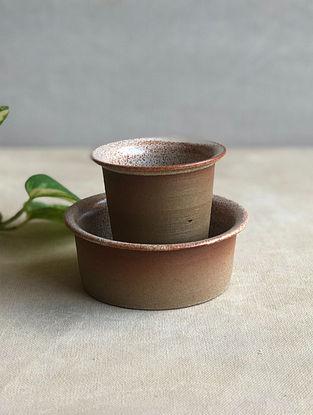 Speckled Cream Handcrafted Stoneware Kaapi Dabara (Set of 2)
